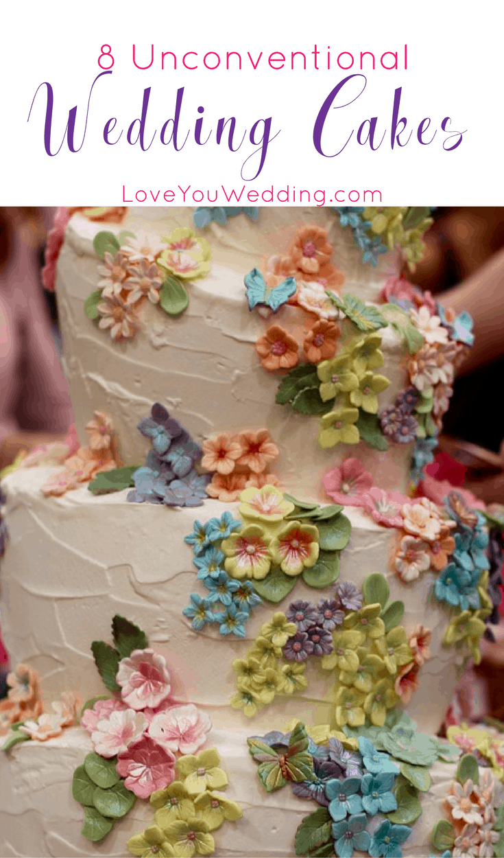 Show off your unique personalities and give your guests a dessert to remember with these 8 unconventional wedding cakes! Check them out!