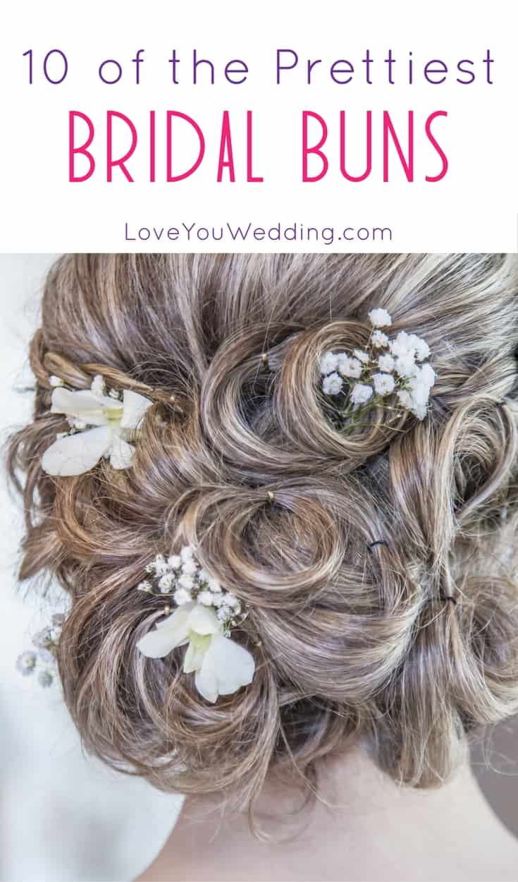 Flowing curls aren't for every bride! If your wedding will be outdoors, a bun may be ideal. Here are 10 of the prettiest bridal buns that we have seen.