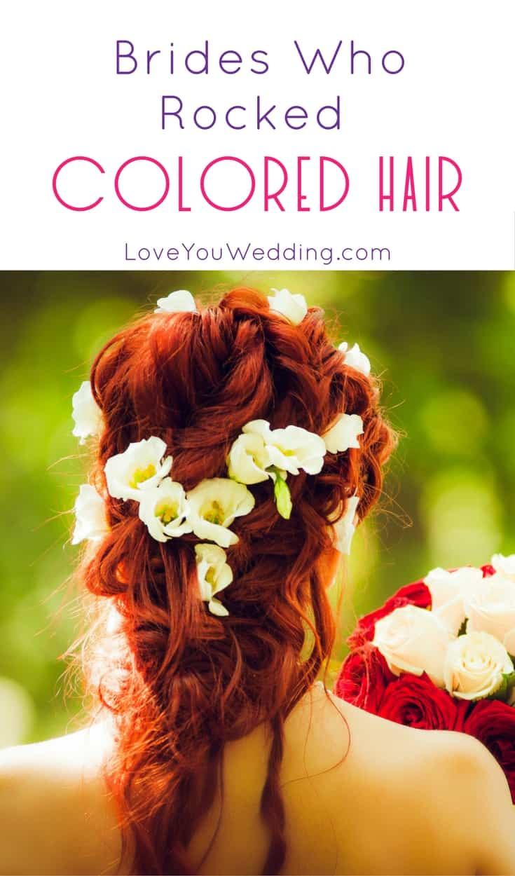 Wondering if you should go with a bold hair color for your wedding? Get some inspiration from these 7 brides who absolutely rocked colored hair!