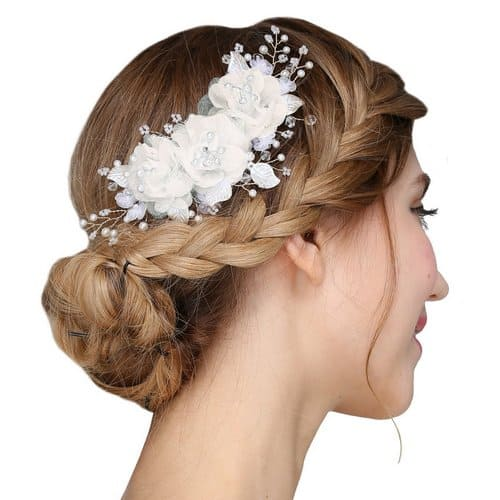 FAYBOX Handmade Bridal Silk Flower Hair Clips