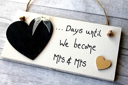 Best Lesbian Engagement Gifts countdown sign