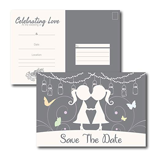 Save the Date Lesbian Engagement Announcement Card