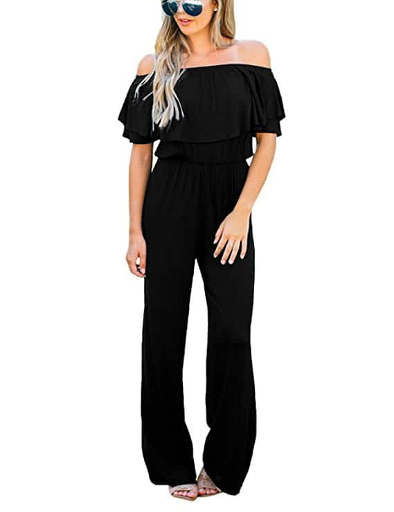 Best lesbian wedding outfits: Casual black jumpsuit
