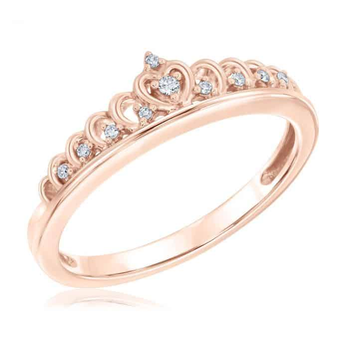 Diamond Tiara Rose Gold Ring 1/20ctw