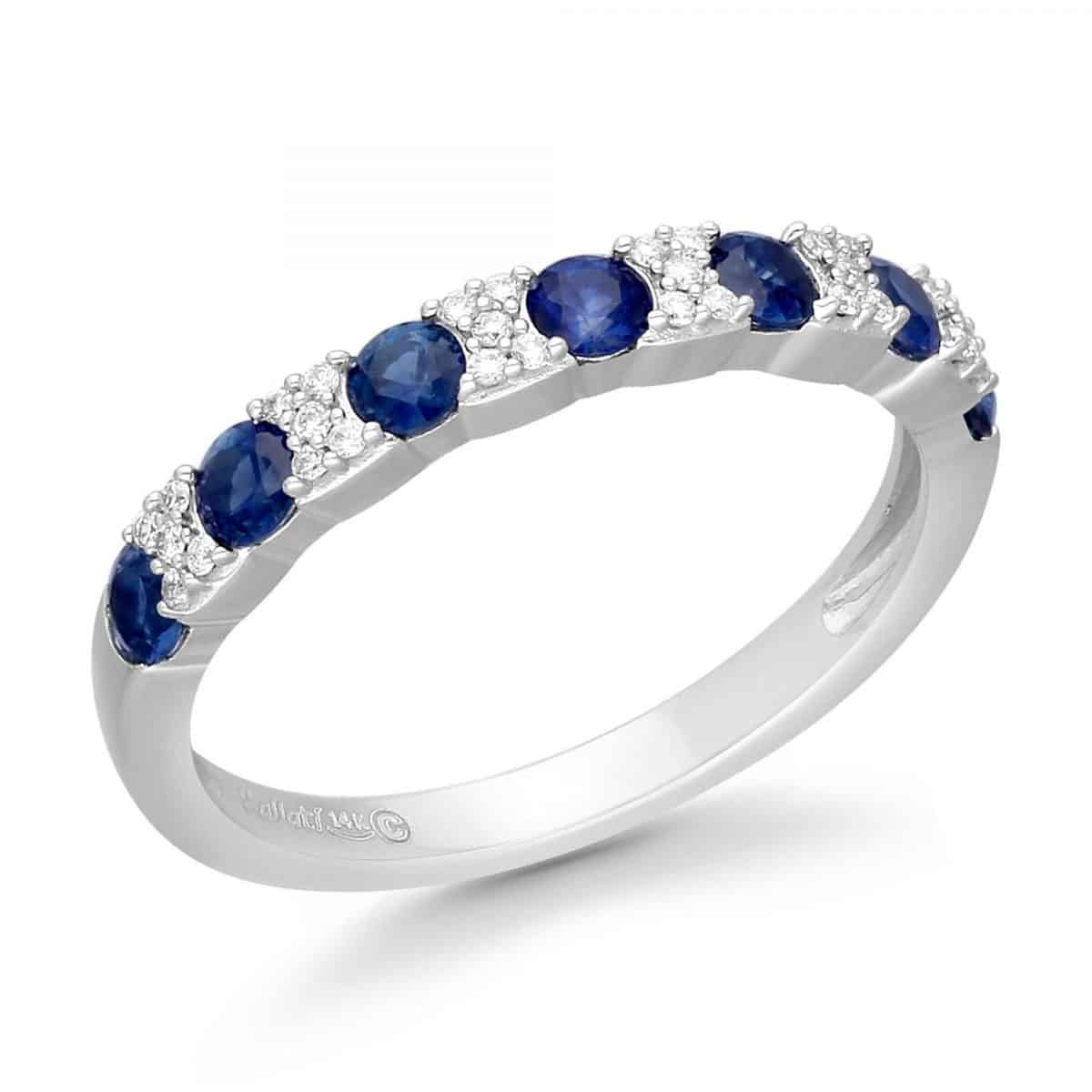 Kallati Blue Sapphire and Diamond Fashion Band Ring 1/10ctw