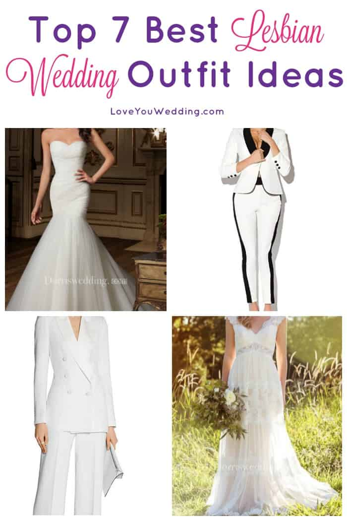 Looking for the best lesbian wedding outfits? Whether you want to go with a traditional dress, a pants suit, or a combo of both, we've got you covered!