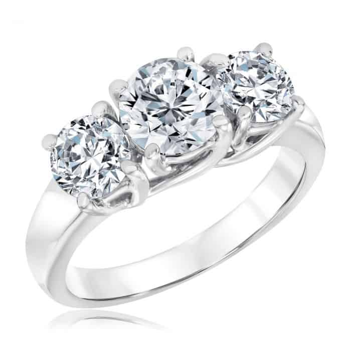Ellaura Journey Three-Stone Round Diamond Engagement Ring 2 1/2ctw