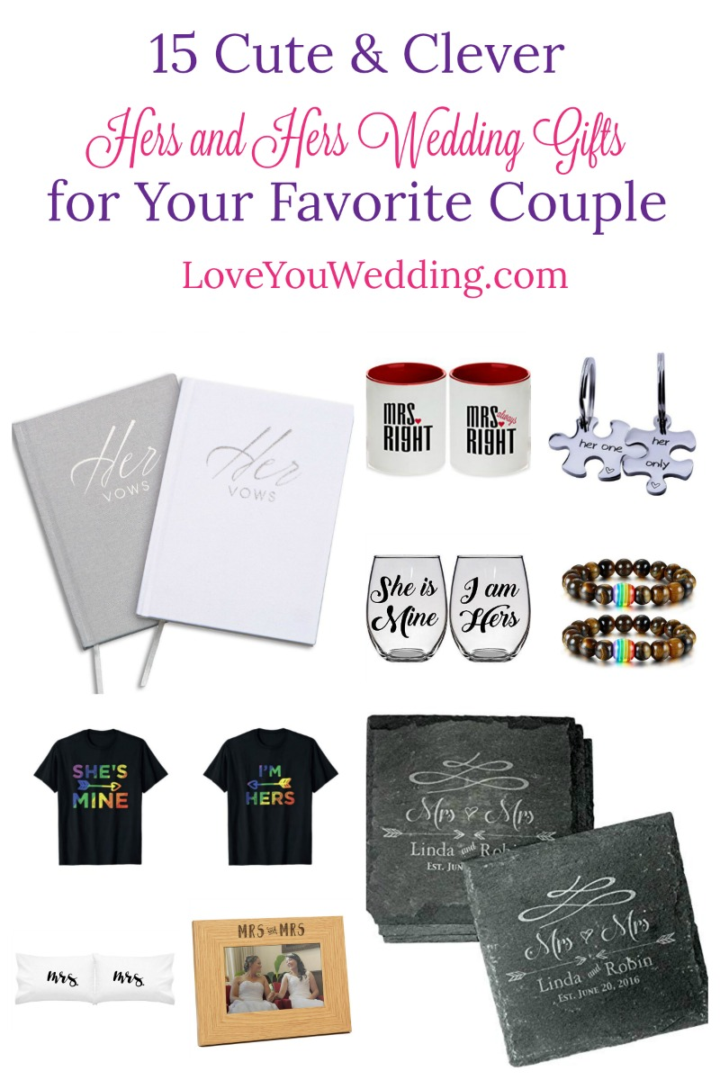 "Looking for some great ""hers and hers gifts"" to give to your favorite couple? Check out 15 perfect ideas for everything from a fun engagement party gift to a meaningful wedding present!"