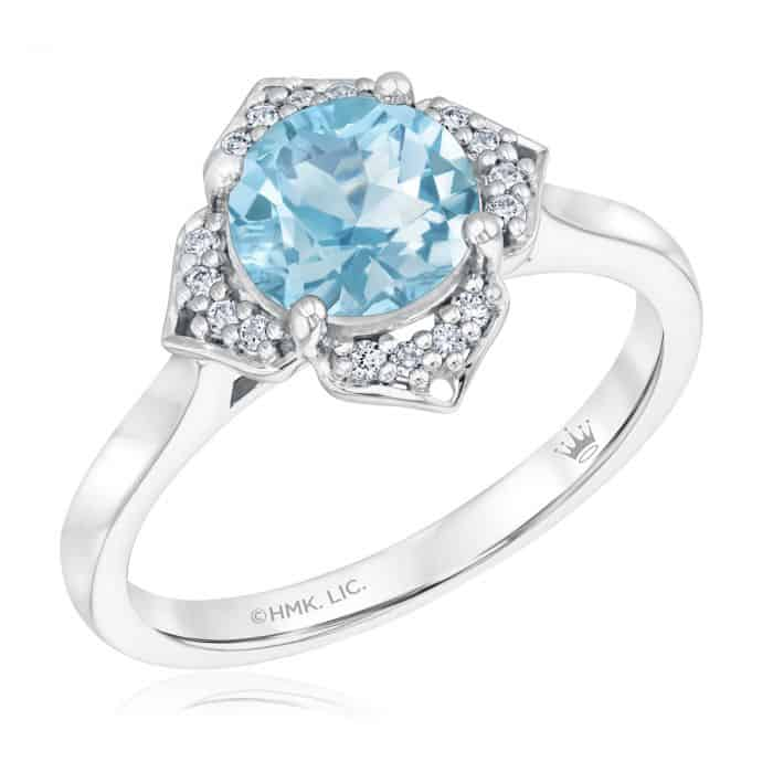 True by Hallmark Bridal Sky Blue Topaz Diamond Quatrefoil Engagement Ring