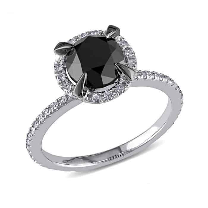 Round Black Diamond and Diamond Ring