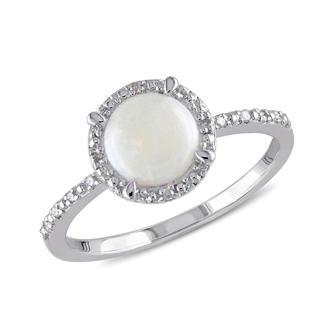 Genuine Round Opal and Diamond Halo Ring