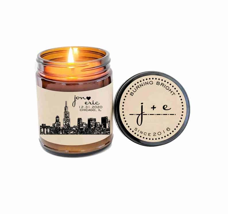 Gay Wedding Gift Personalized Candle