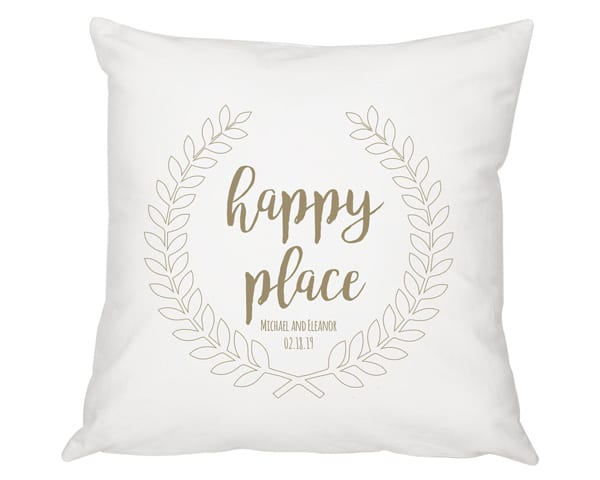 Personalized Happy Place Throw Pillow