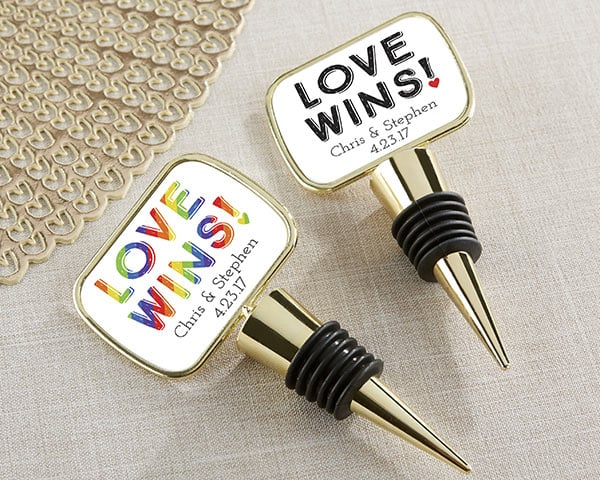 Personalized Love Wins Gold Bottle Stopper