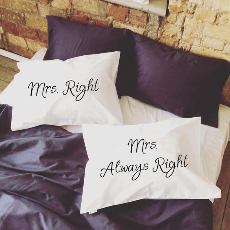 Gay Wedding Gift Mrs. Right Mrs. Always Right Gay Couple Pillow Cases