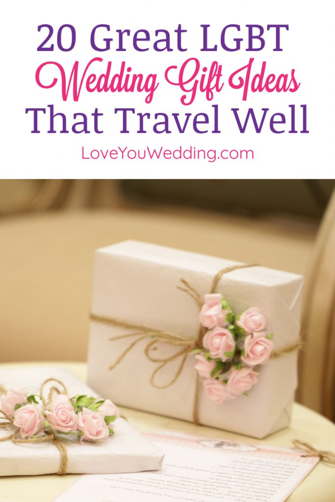 Finding LGBT wedding gifts that travel well is a challenge, especially if you're flying! We've got you covered with these ideas, though! Check them out!