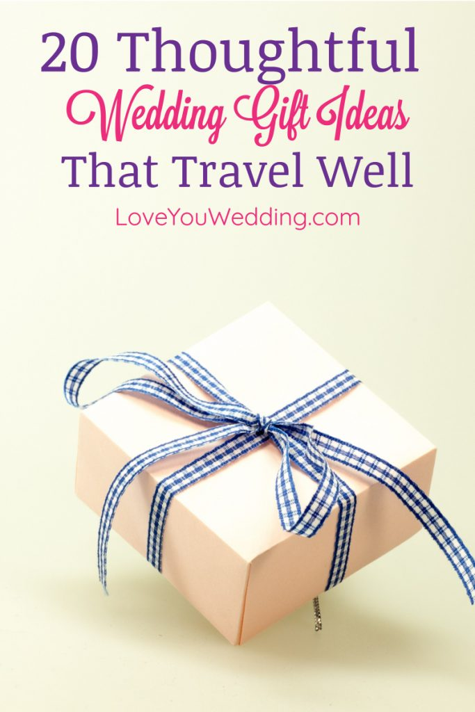 Finding wedding gifts that travel well is a challenge, especially if you're flying! We've got you covered with these ideas, though! Check them out!