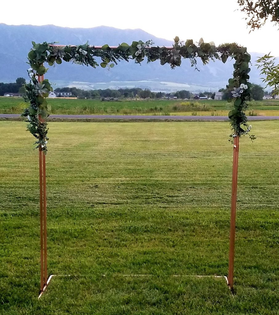 Double Copper Wedding Arch outdoor