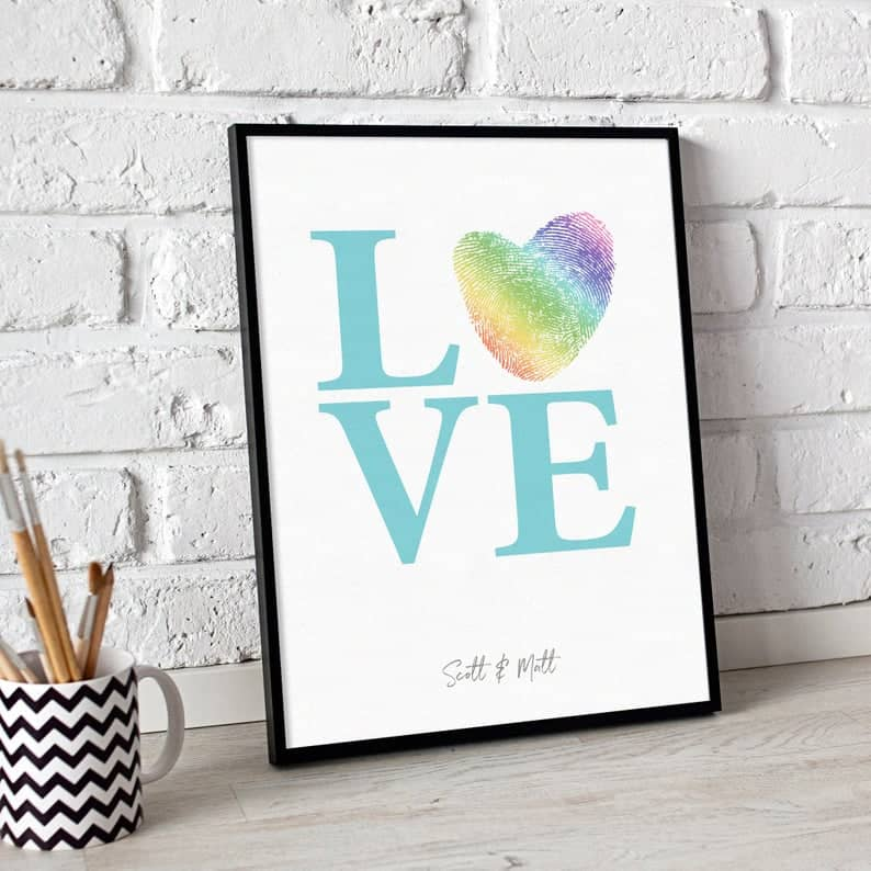 Gay Wedding Fingerprint Guest Book