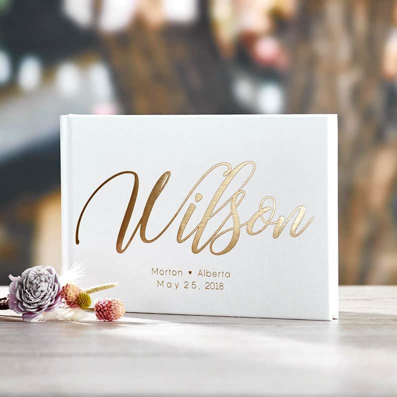 Gold Foil Traditional Wedding Guest Book