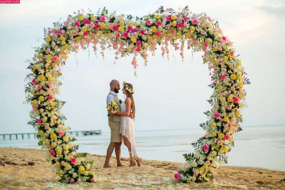 Heart shaped wedding arch
