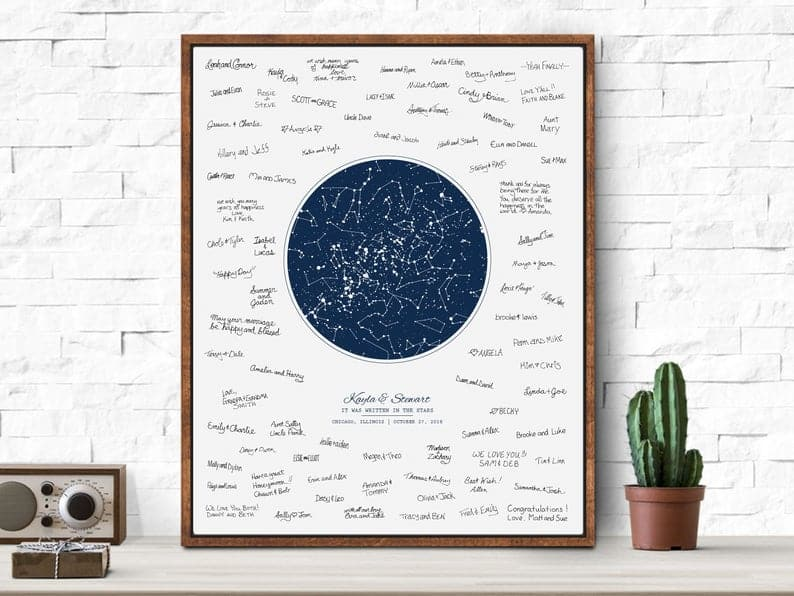 One Night Sky Wedding Guest Book Alternative