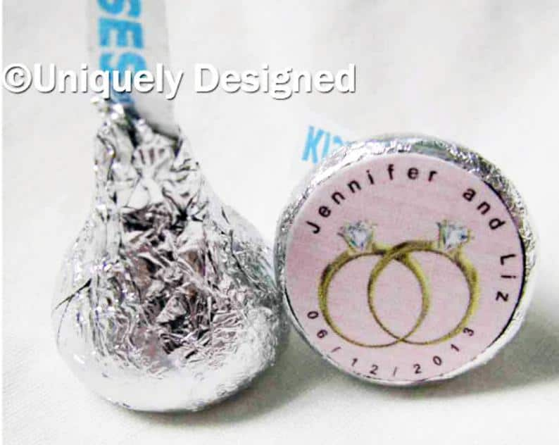 Same Sex Wedding - Wedding Favors - customized Hershey kisses