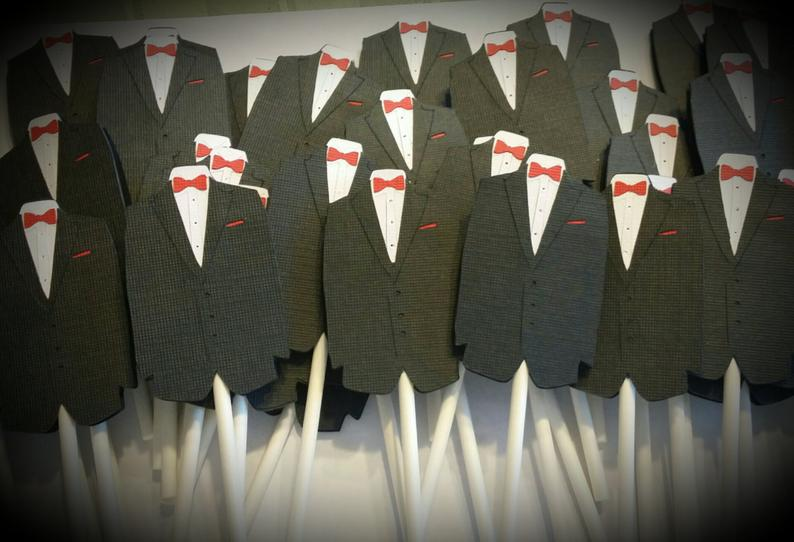 Tuxedo cupcake toppers gay wedding shower decorations