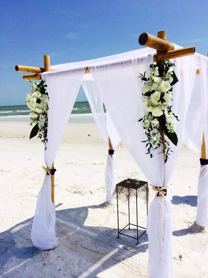 Bamboo •	beach wedding arbor ideas