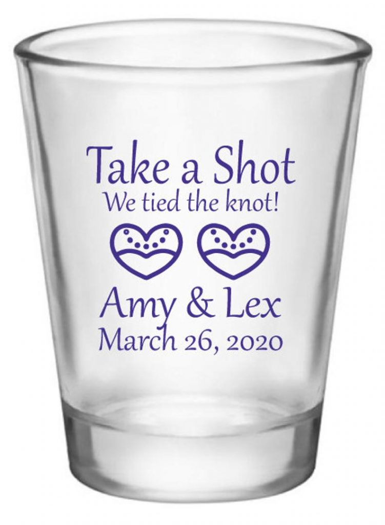 lesbian cheap wedding favors shot glasses