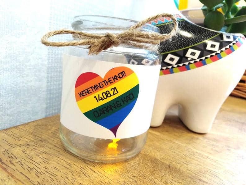 rainbow wedding favor candle
