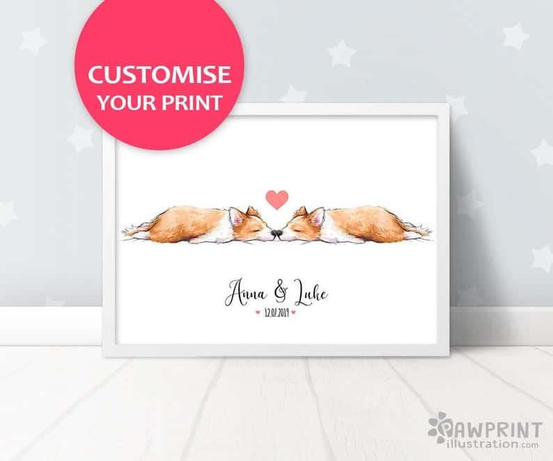 Corgi Wedding Gift Art Print