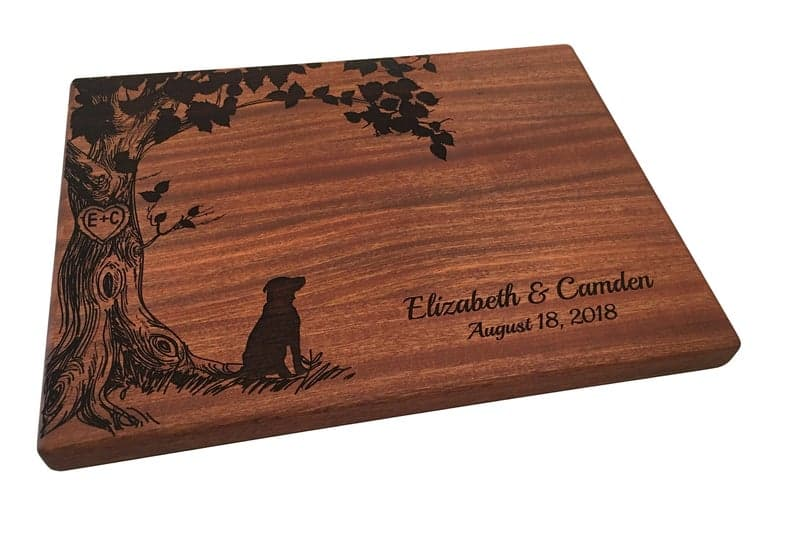 Wedding gift dog lovers personalized cutting board
