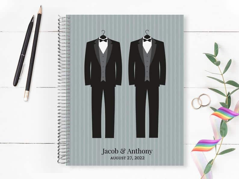Purple Trail Two Grooms Wedding Planner tuxes