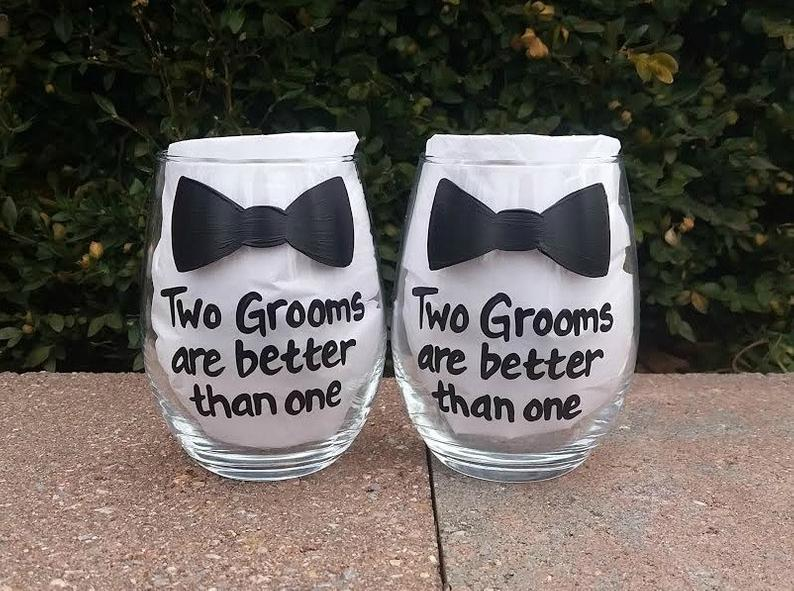 Two Grooms are Better Than One handpainted wine glass set