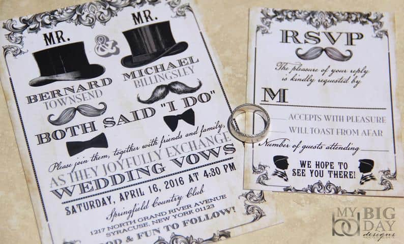 Vintage Mr & Mr Wedding Invitations