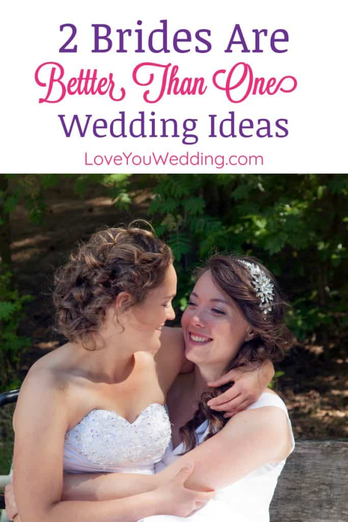 """Looking for some of the best """"two brides are better than one"""" wedding ideas? Check out our top picks from planners to cards to favors!"""