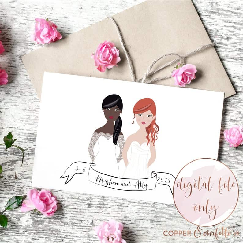 Custom two brides illustration