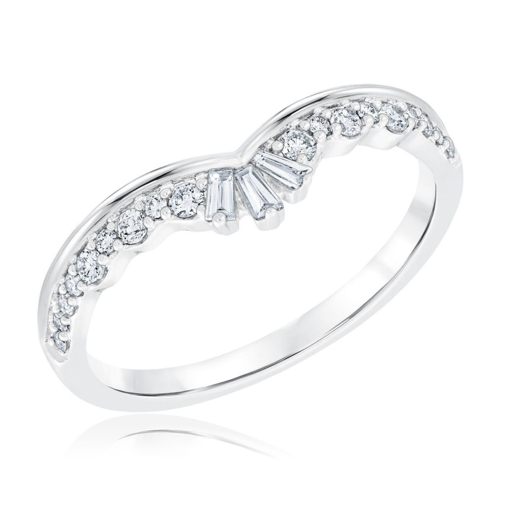 Ellaura Embrace Round and Baguette Diamond Crown Curved Band