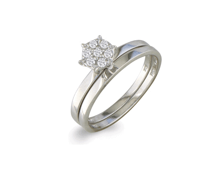 1/8 ct Petite Diamond Bridal Set in 10K White Gold
