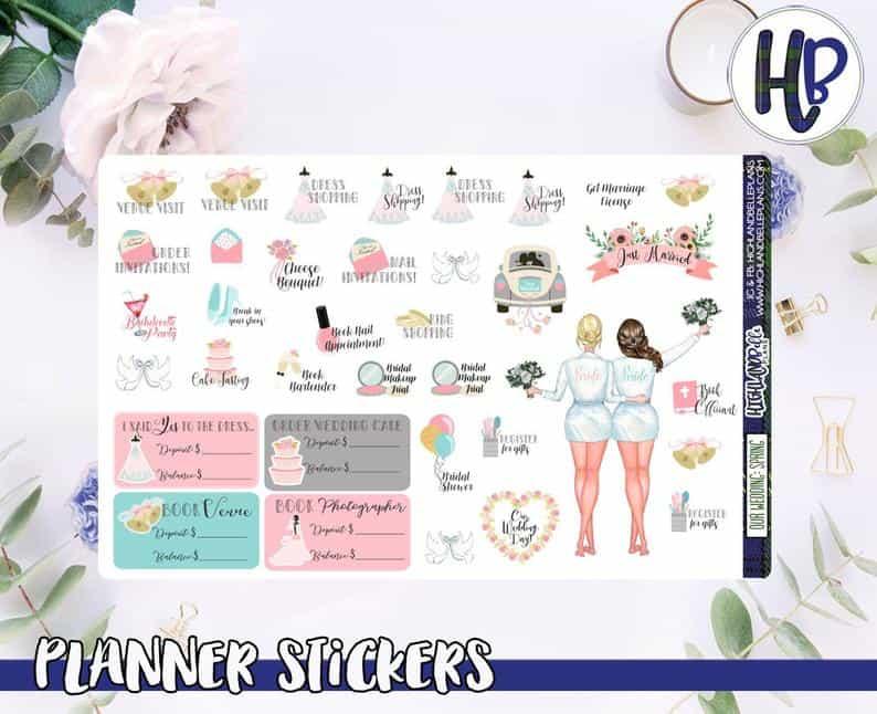 Lesbian Wedding Planner Stickers