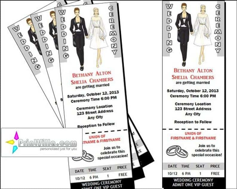 Lesbian Wedding Ticket Invitations