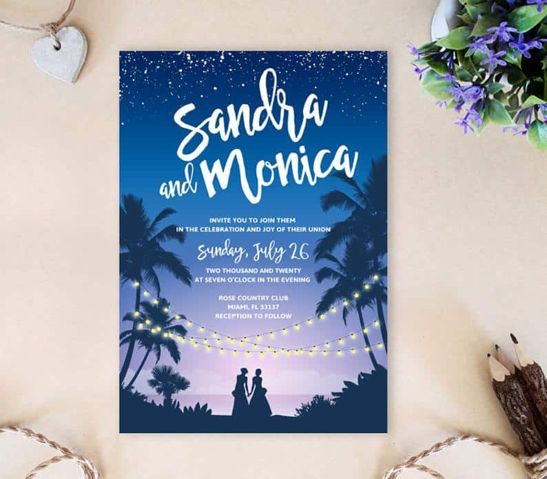 Lesbian wedding invitations with two brides