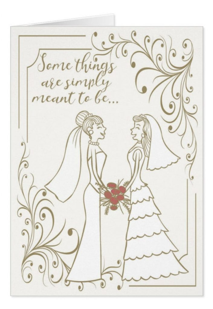 Stylish cream bride and bride wedding card