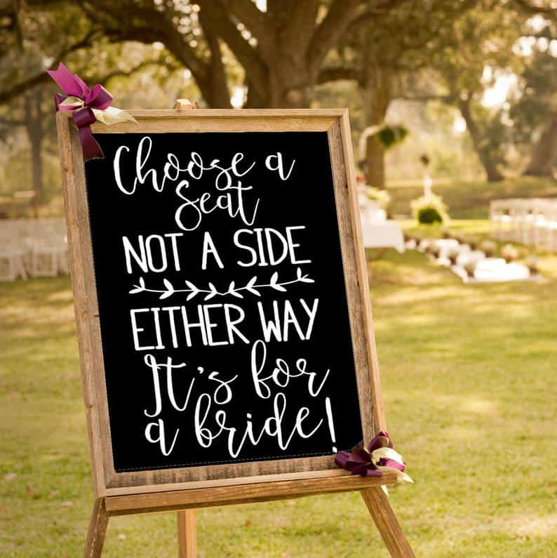 Choose a Seat Not a Side Decal for Two Brides