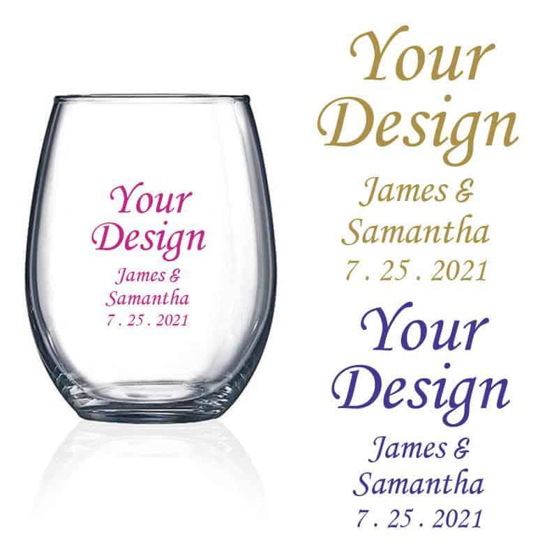 Custom wine glass favors