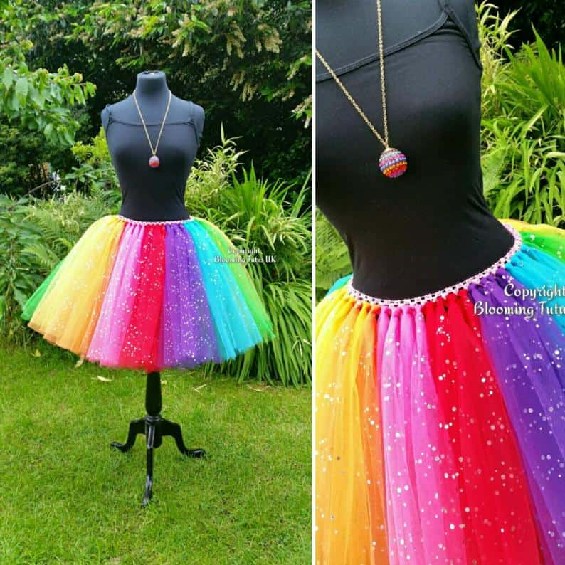 ADULT Rainbow Colored Sparkly Knee-Length Tutu Skirt