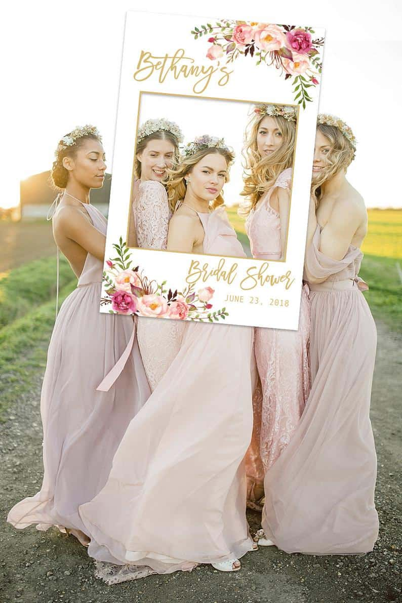 Bridal shower Photo Prop, Personalized Bridal shower photo booth frame,
