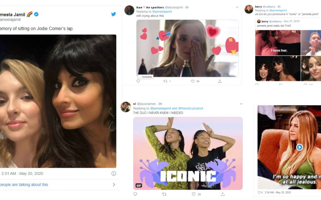 Jameela Jamil Shares Photo of Her Sitting on Jodie Comer's Lap & Twitter Went Crazy