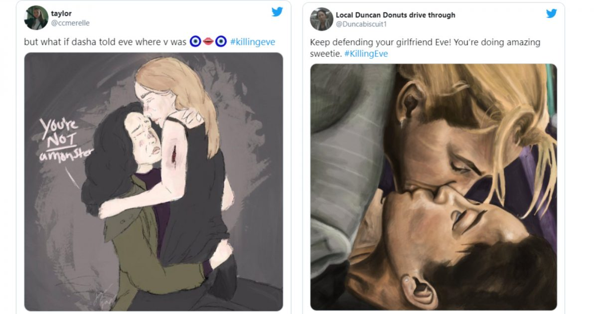 Twitter is buzzing over beautiful  Killing Eve fan art showing touching moments between the lesbian couple portrayed by Sandra Oh and Jodie Comer.